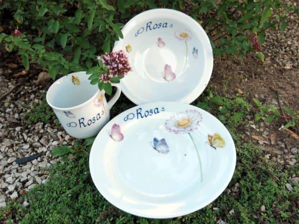 Kindergeschirr Porzellan Set Becher, Teller und Müslischüssel mit Gänseblümchen und Schmetterlingen