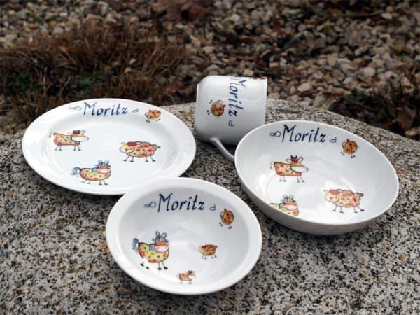 Kindergeschirr Porzellan Set mit Becher, Teller, Schale, Müslischüssel Farm kunterbunt orange