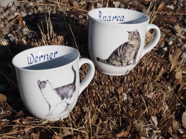 Porzellan Namenstasse BecherMirek 400 ml Tigerkatze u grauweise Katze